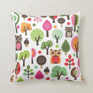 Cute owl tree autumn nature retro pattern throw cushion