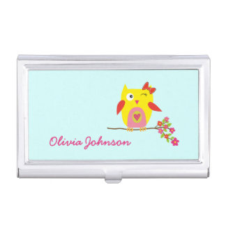 Cute Owl Yellow Pink Flowers Baby Blue Business Card Holder