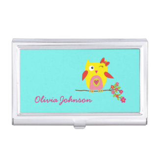 Cute Owl Yellow Pink Flowers Personalized Business Card Holder