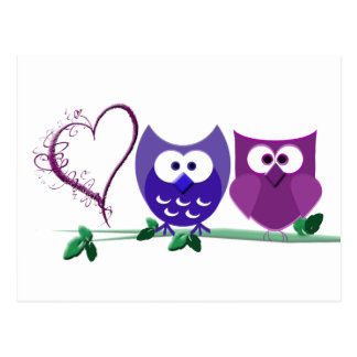 Cute Owls and swirly heart Postcard