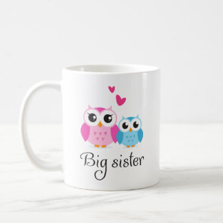 Cute owls big sister little brother cartoon coffee mug