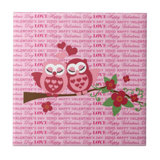Cute Owls in Love Happy Valentine's Day Gifts Ceramic Tile