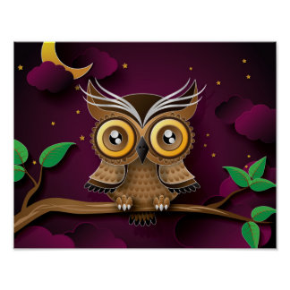 Cute Owls on Colorful Branches green purple Poster