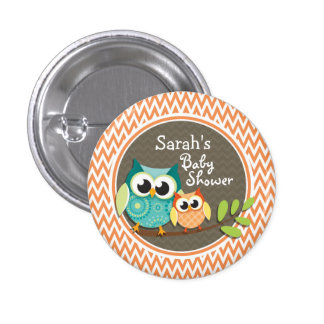 Cute Owls; Orange and White Chevron; Baby Shower Buttons