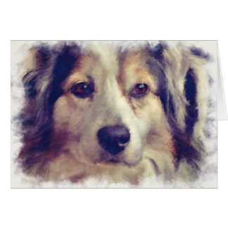 Cute Painted Style Aussie Shepherd Dog Greeting Card