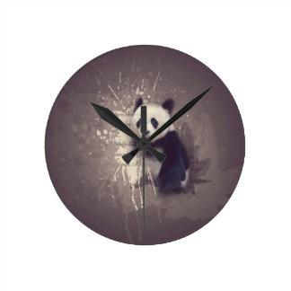 Cute Panda Abstract Round Clock