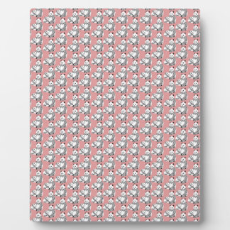 Cute Panda Bear and Mom on Pink Background Plaque