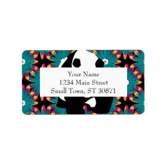 Cute Panda Bear Blue Pink Flowers Floral Pattern Address Label