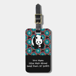 Cute Panda Bear Blue Pink Flowers Floral Pattern Luggage Tag