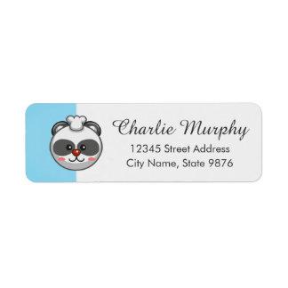 Cute Panda Bear Cartoon on Aqua Blue Return Address Label