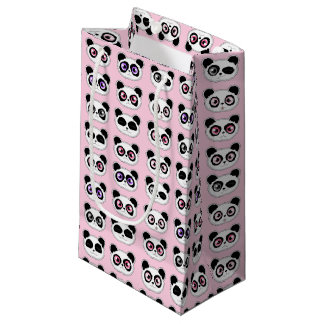 Cute Panda Expressions Pattern Pink Small Gift Bag