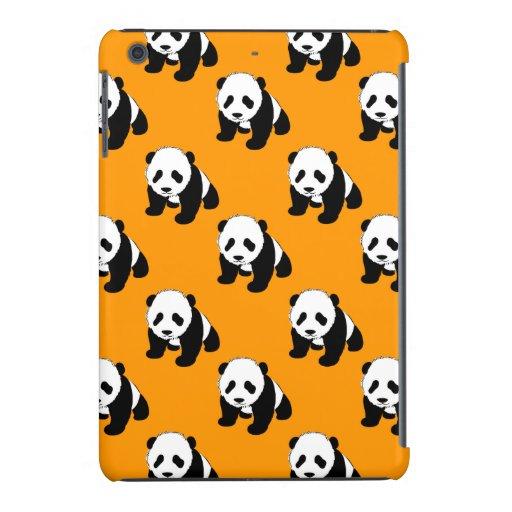 Cute Panda; Neon Orange, Black & White iPad Mini Retina Cover