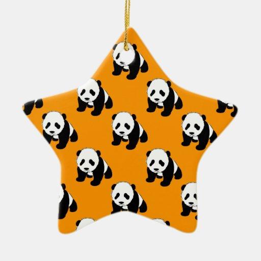 Cute Panda; Neon Orange, Black & White Ornament