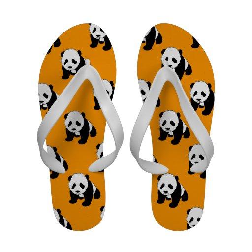 Cute Panda; Neon Orange, Black & White Flip Flops