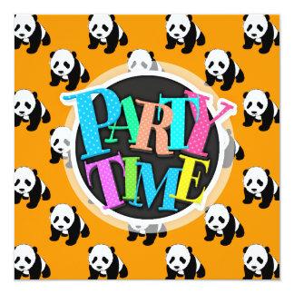 Cute Panda; Neon Orange, Black & White 5.25x5.25 Square Paper Invitation Card