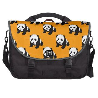 Cute Panda; Neon Orange, Black & White Laptop Bags