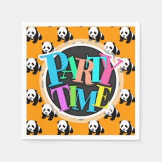 Cute Panda; Neon Orange, Black & White Disposable Napkins