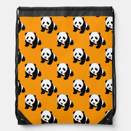 Cute Panda; Neon Orange, Black & White Backpack