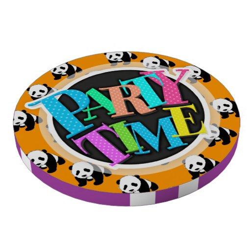 Cute Panda; Neon Orange, Black & White Poker Chips Set