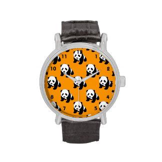 Cute Panda; Neon Orange, Black & White Wristwatch