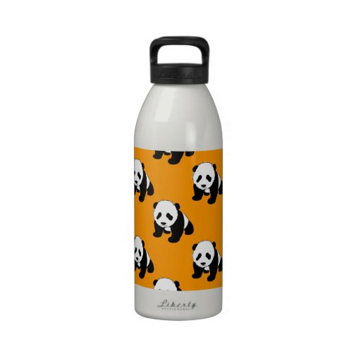 Cute Panda; Neon Orange, Black & White Reusable Water Bottles