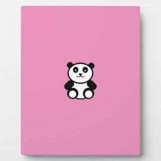 Cute Panda on Pastel Pink Plaque