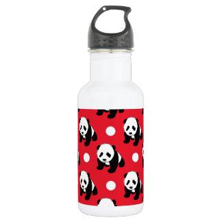 Cute Panda; Red, Black & White Polka Dots 532 Ml Water Bottle