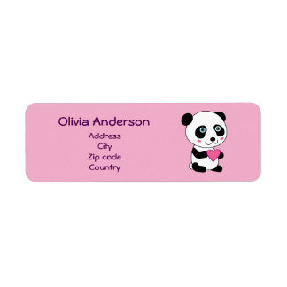 Cute Panda with a Pink Heart Personalized