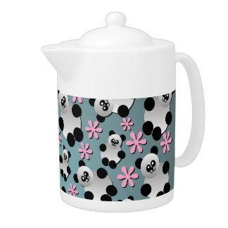 Cute Pandas and Flowers Teapot