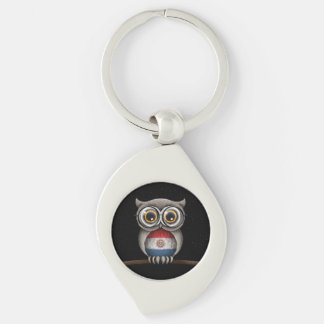 Cute Paraguay Flag Owl Wearing Glasses Key Ring