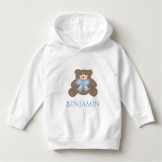 Cute Pastel Blue Ribbon Sweet Teddy Bear Baby Boy Hoodie