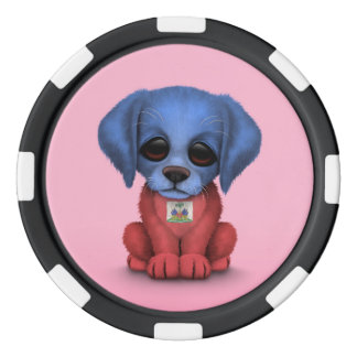Cute Patriotic Haitian Flag Puppy Dog, Pink Poker Chips