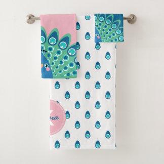 Cute Peacock - Blue & Pink Monogrammed Bath Towel Set