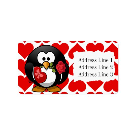 Cute Penguin and Hearts Valentine Address Label