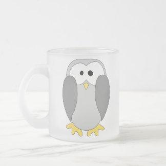 Cute Penguin Cartoon. Frosted Glass Mug