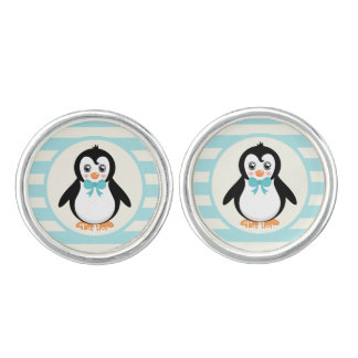Cute Penguin with Turquoise Bowtie Cuff Links
