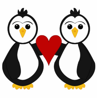 Cute Penguins Holding A Heart Acrylic Cut Out