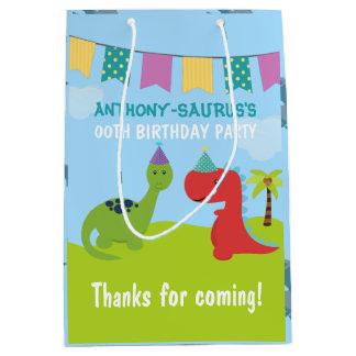 Cute Personalised Dinosaur themed Party Medium Gift Bag