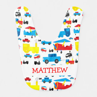 Cute Personalised Planes, Trains and Cars Collage Bib