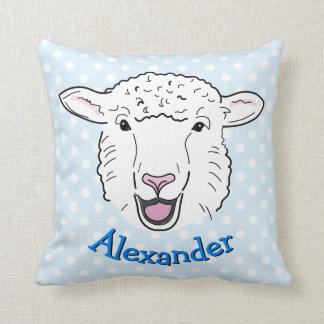 Cute Personalised Smiling Sheep Face Illustration Cushion