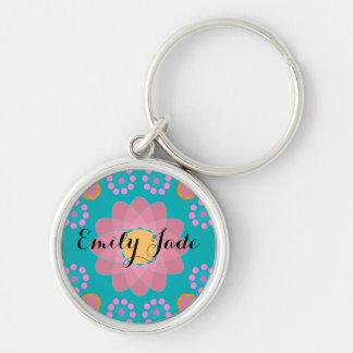 Cute Personalized Orange Pink Teal Flowers Key Ring