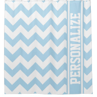 Cute Personalized Sky High Blue Chevron Pattern Shower Curtain