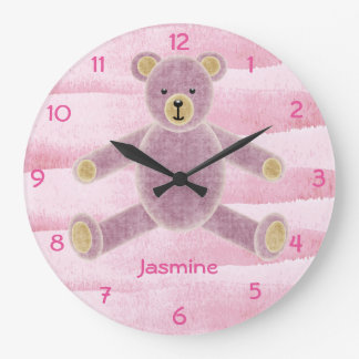 Cute Personalized Teddy Bear Wall Clock - Pink
