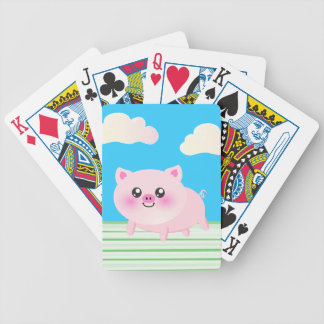 Cute pig cartoon bicycle playing cards