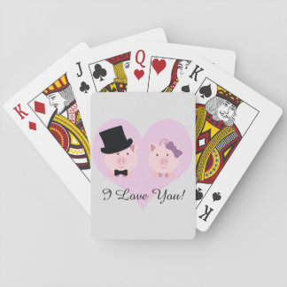 Cute Pig Couple Playing Cards