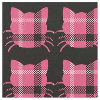 Cute Pink and Black Cats Fabric