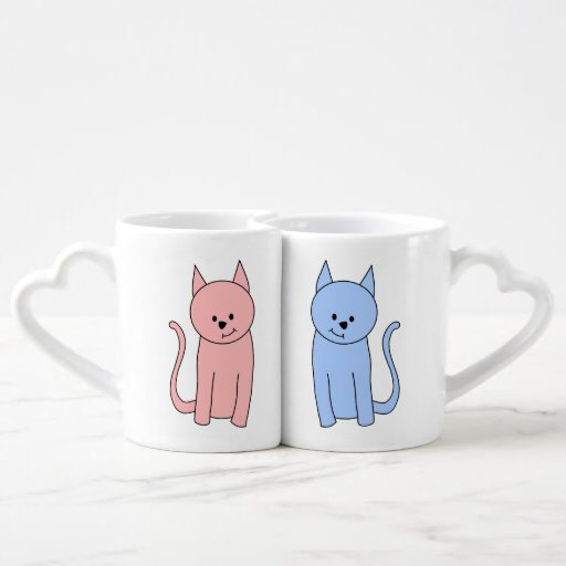 Cute Pink and Blue Cats Couple Mugs