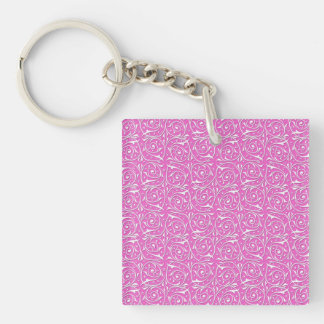 Cute Pink and White Swirling Vines Pattern Key Ring