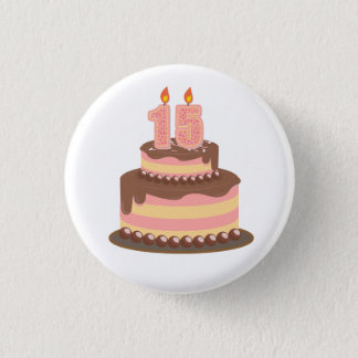 Cute Pink and Yellow 15th Birthday 3 Cm Round Badge