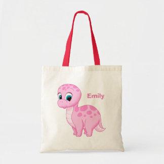 Cute Pink Baby Brontosaurus Dinosaur Tote Bag